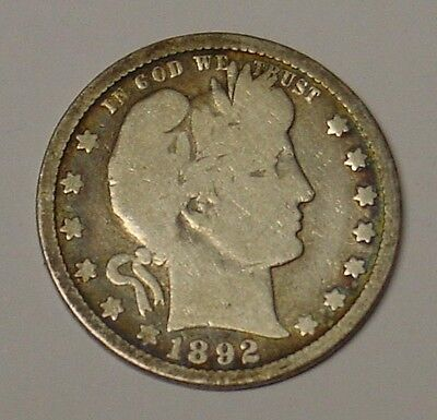 USA 1892 O  Barber Quarter Dollar, VG.