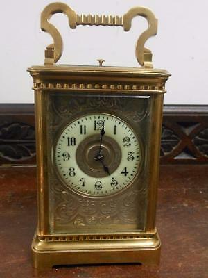 large repeater engraved dial  brass cased carriage clock for restoration