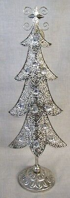 "NEW Silver Metal with Clear Gems CHRISTMAS TREE 15"" Tall TII Collections"