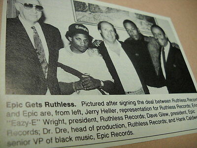 EAZY-E & DR. DRE w/ execs Original 1989 music biz promo image with text RARE
