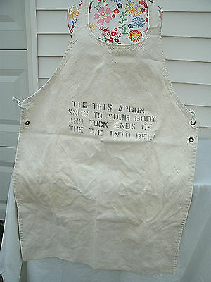 Vintage 1950's  Heavy  CANVAS/Cotton  Shop Work Apron /Printing on Front