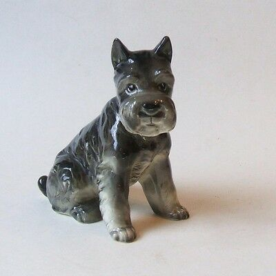 Vintage Shafford Japan Porcelain Dog Figurine Schnauzer Terrier Gray 4.5 Inch