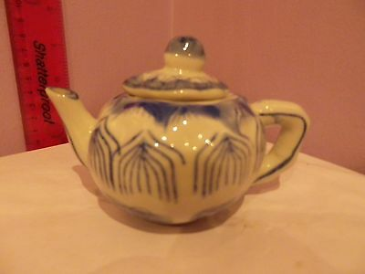 Superb Vintage Chinese Blue & White Porcelain Unusual Leaves Design Small Teapot