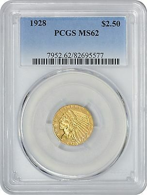 1928 $2.50 Two and a Half Dollar Gold MS62 PCGS Indian Mint State 62