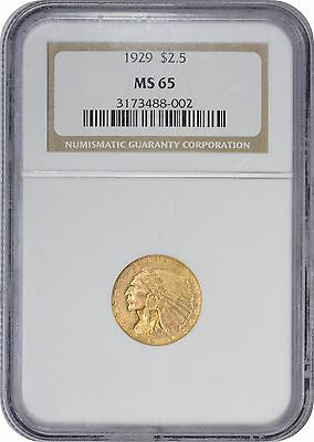 1929 $2.50 Two and a Half Dollar Gold MS65 NGC Indian Mint State 65
