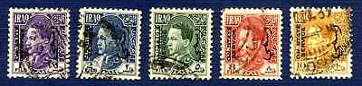 "Iraq 1942 SC# O72/O78-Group of 5-Overprinted ""On State Service""-USED"