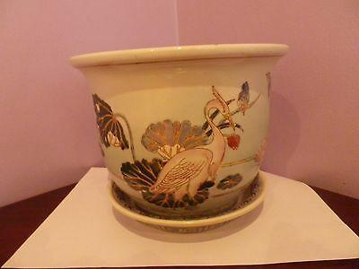 Fab Vintage Large Chinese Pottery Heron Bird & Lily Pad Design Plant Pot/saucer