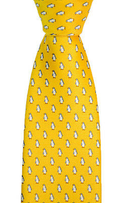 "Mens BRIONI Italy Indian Yellow Penguin Hand Made Woven 3.25"" Silk Neck Tie NWT!"
