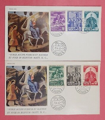 2 FDCs 1960 VATICAN CITY #275-280 WORLD REFUGEE YEAR SET CACHET COVERS