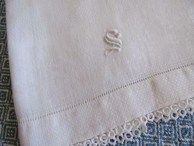 "Antique Vtg Monogrammed ""S"" WHITE Linen DAMASK Guest Towel 15x23"" TATTED Edging"