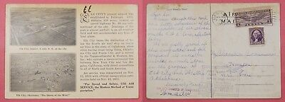 1933 First Flight Cam 34 Large Airmail Card Elk City Oklahoma Ok