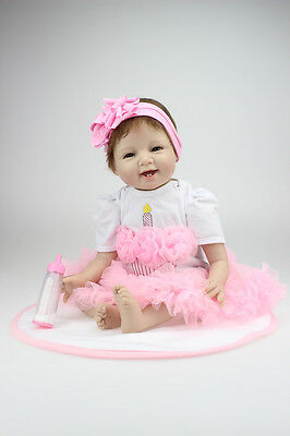 Reborn Baby Doll Soft Silicone Girl Toy 22in. 55cm Pink Head Dress