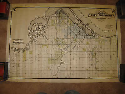 Antique 1892 Superior Douglas County Wisconsin Lake Superior Wall Map Railroad N