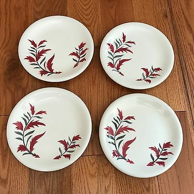 4 Vintage Sterling China Russel Wright Andy Warhol Dinner Plate Pink & Gray Leaf