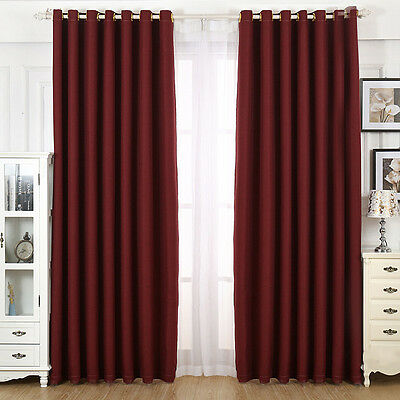 New Blackout Curtain Pure Color Home Hotel Shading Drape Eyelet Window Panel 1PC
