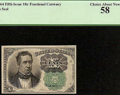 10 CENT FRACTIONAL CURRENCY GREEN SEAL MEREDITH NOTE PAPER MONEY Fr 1264 PCGS 58