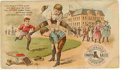 c1880s Mayer's School Shoes trade card Milwaukee Wisconsin