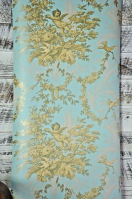 Vintage Victorian Blue Cherub Floral Classic Scroll Gold Designer Gray Wallpaper