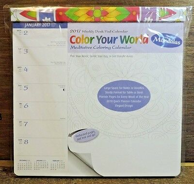 Color Your World 2017 Weekly Desk Pad Coloring Calendar with Mandalas