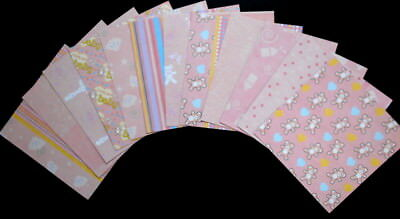 """*PRETTY IN PINK* Baby Girl Double-Sided Papers x 12 - 15cm x 15cm  (6""""x 6"""")"""