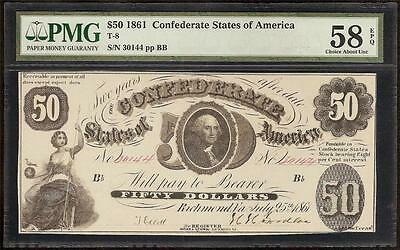 1861 $50 Dollar Bill Confederate States Currency Civil War Paper Note T8 Pmg 58