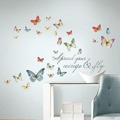 RoomMates RMK3263SCS Lisa Audit Butterfly Quote Peel and Stick Wall Decals New