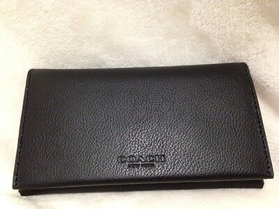 Coach Universal Phone Case Wallet Calf Leather Black NWT