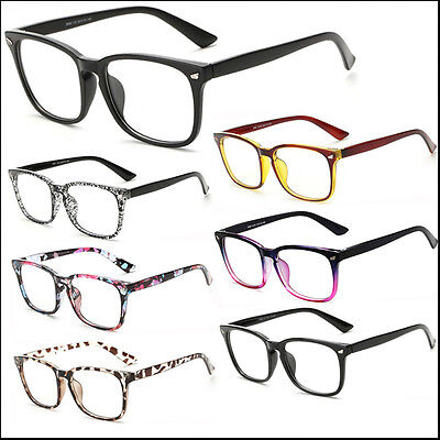 Mens Women Square Clear Lens Glasses Vintage Geek Nerd Fashion Eyewear Frame Lot