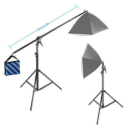 Neewer 10ft/3M Two Way Rotatable Tripod Boom Light Stand with Sandbag