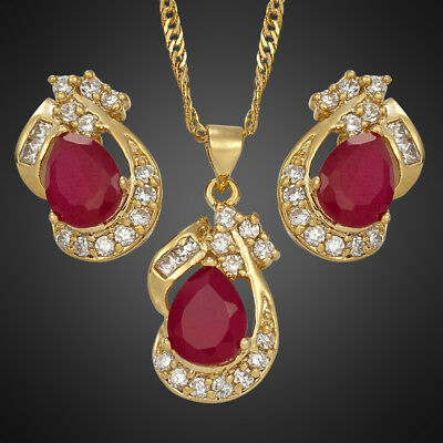 Wedding Party 18K Yellow Gold Plated Pear Red Ruby Jewelry Set Necklace Earrings