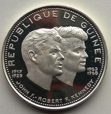 Guinea 1970 Kennedy 200 Francs Silver Coin,Proof