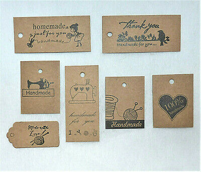 10/25/50 Kraft 'handmade ' Brown Paper Label Tags #crafts/gift Wrapping