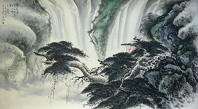 "70"" Chinese Original Watercolor Landscape Painting Wholesale: Flying Pinetree"