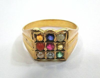 Vintage Antique Solid 20k Gold jewelry Navratan gemstones Ring Rajasthan India