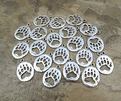 20 Silver Plated Pewter BEAR PAW Charms -  - 5161