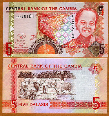 Gambia, 5 Dalasis, ND (2006), 2013 Issue, P-25-New, UNC   Child