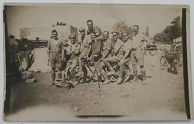 Ww1 Postcard Real Photo - Possibly Royal Scots In Egypt - Motorbikes - Unposted