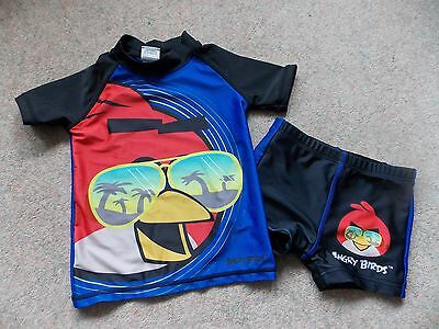NEXT Boys UV Sun Protection Suit Age 3-4 Years 2 Piece Swimming Suit ANGRY BIRDS