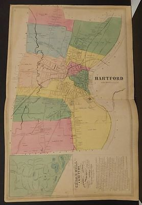 Connecticut Hartford County Map Hartford Double Page 1869 J8#50