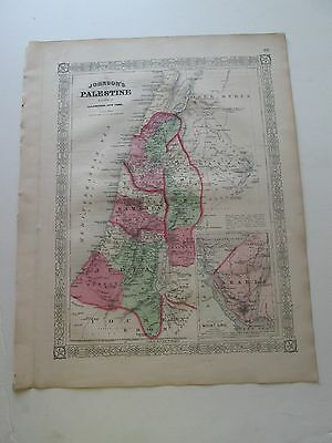 1867 PALESTINE  ANTIQUE MAP, from 1868 A. J. JOHNSON ATLAS