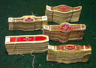 Lot 5 different BUNDLES of Vintage CIGAR BANDS  - LABELS -  #2 - old original