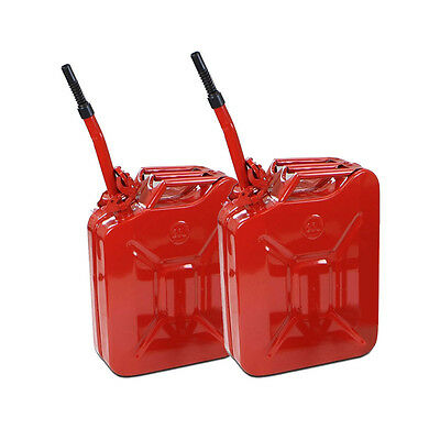 2x 20L 5 Gallon Gas Jerry Can Gas Fuel Steel Tank Military RED w / Spout Red New