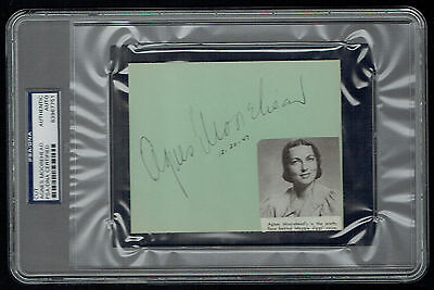 Agnes Moorehead (d. 1974) signed autograph 4x5 cut Actress Bewitched PSA Slabbed