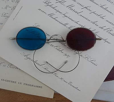 Antique Oval Red & Blue Glass Spectacles, Eyeglasses Late 1800's Riding Arms