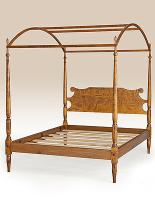 King Canopy Bed Antique Style Tiger Maple Wood Furniture Made in USA Handcrafted