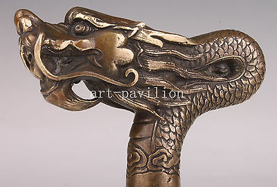 Large Bronze Statue Dragon Myths Crutch Walking Stick Cane Handle Vintage Collec