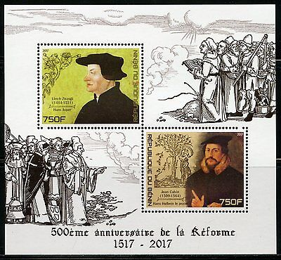BENIN  2017 500th ANNIVERSARY OF THE REFORMATION ZWINGLI  & CALVIN SHEET MINT NH