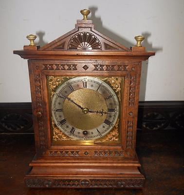 small black forest walnut carved timepiece bracket clock c1900s