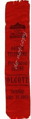 Ogden Telephone Company NY 1st Annual Outing 1909 Antique Ribbon Olcott