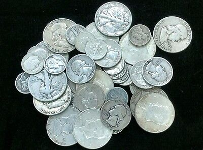 $7.50 U.S Silver 90 % Coins Half Dollars Quarters Dimes Mixed Lot All Full Dates